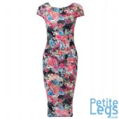 Tanya Watercolour Floral Print Petite Bodycon Midi Dress | UK Sizes 8-14